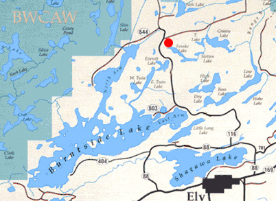 Map from Ely to Fenske Lake